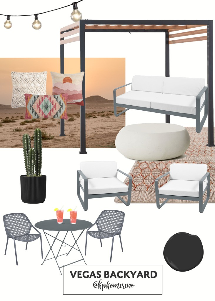 Mood Board for Las Vegas Backyard with Outdoor Patio Set, Rug, Bistro Table and Dining Chairs