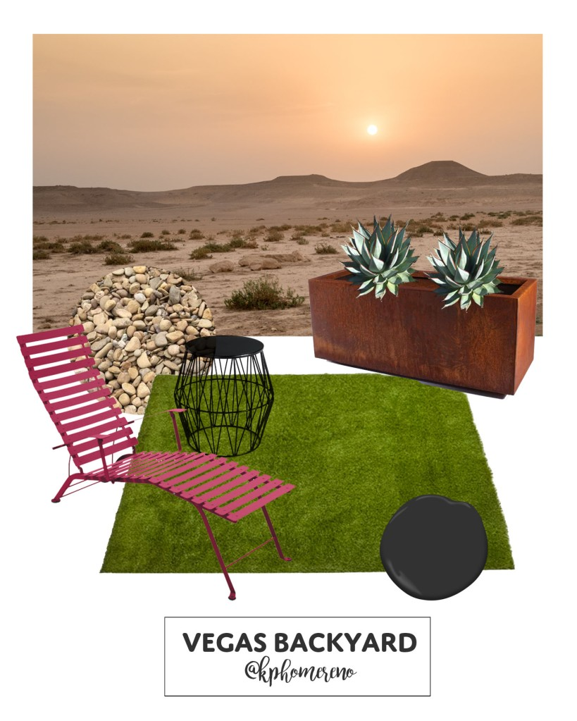 Mood Board for Las Vegas Backyard with artificial turf lawn